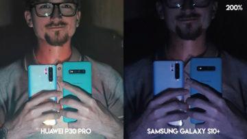 Fototest Huawei P30 Pro vs Samsung Galaxy S10 Plus noční selfie detail