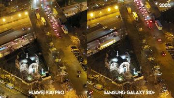 Fototest Huawei P30 Pro vs Samsung Galaxy S10 Plus noční ulice detail