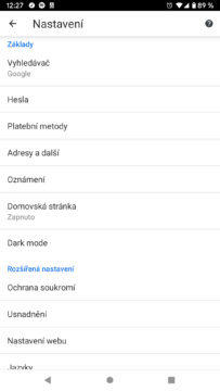 Google Chrome 74 nastaveni