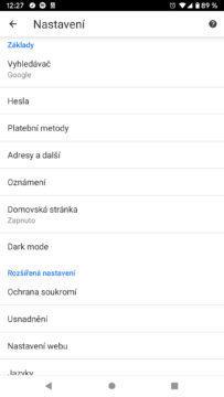 Google Chrome 74 nastaveni