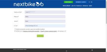Registrace přes web