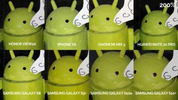 srovnání fotomobilů galaxy s8 s9 s10 mate 20 pro mi mix 3 view 20 iphone xs blesk android postava detail