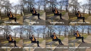 srovnání fotomobilů galaxy s8 s9 s10 mate 20 pro mi mix 3 view 20 iphone xs lavička modelka