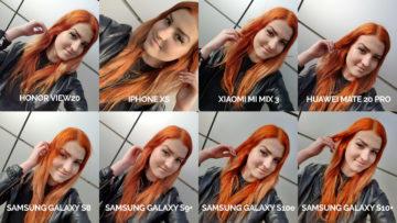 srovnání fotomobilů galaxy s8 s9 s10 mate 20 pro mi mix 3 view 20 iphone xs selfie modelka