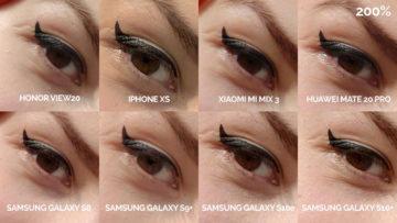 srovnání fotomobilů galaxy s8 s9 s10 mate 20 pro mi mix 3 view 20 iphone xs selfie modelka detail