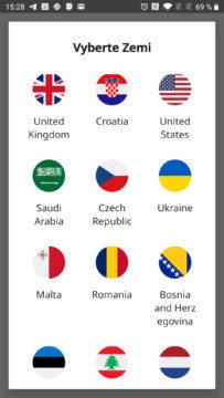 Výběr země