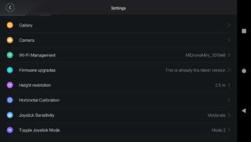 XiaomiMiDroneMini aplikace menu nastaveni