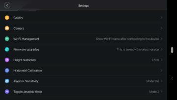 XiaomiMiDroneMini aplikace nastaveni