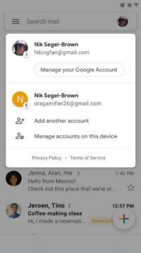Android email klient - Gmail - přidat účty