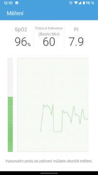 aplikace ihealth myvitals oxymetr měření živý přenos