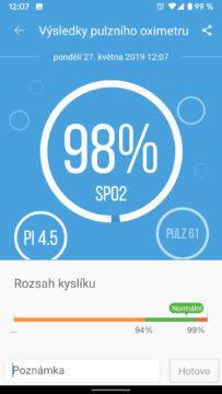 aplikace ihealth myvitals oxymetr výsledek měření