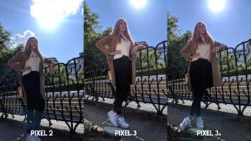 Fofotest Google Pixel 3a vs Google Pixel 3 vs Google Pixel 2 modelka v parku