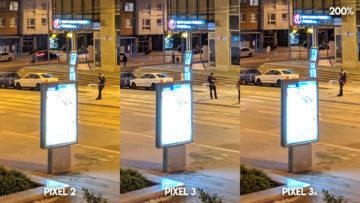 Fofotest Google Pixel 3a vs Google Pixel 3 vs Google Pixel 2 noční ulice detail