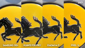 Fototest S10 vs P30 Pro vs Mi 9 vs Pixel 3A ferrari detail