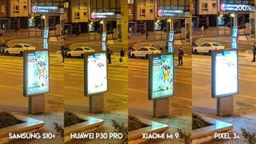 Fototest S10 vs P30 Pro vs Mi 9 vs Pixel 3A noční ulice detail