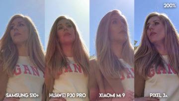 Fototest S10 vs P30 Pro vs Mi 9 vs Pixel 3A protisvětlo modelka detail