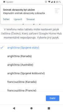 Google Home aplikace jazyk