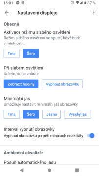 Google Home aplikace nastaveni displeje