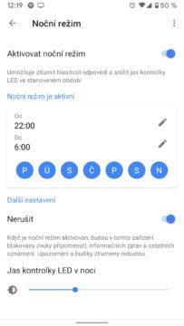 google home max aplikace nočni rezim