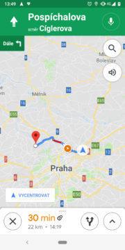 Google Mapy radary navigace