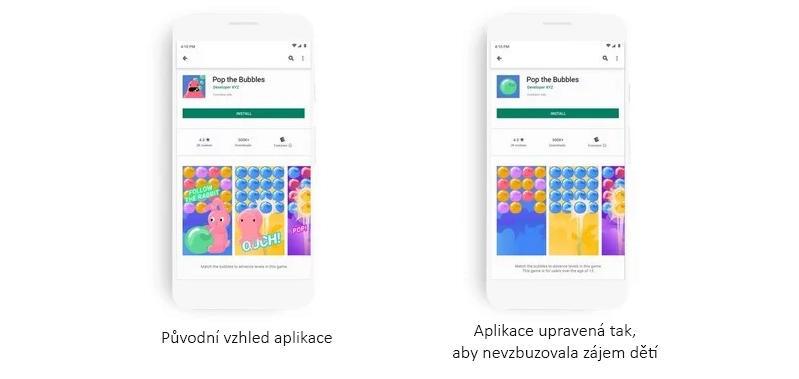 Google Play přizpůsobuje obsah dětem