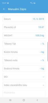 Ihealth Core aplikace manuální zápis