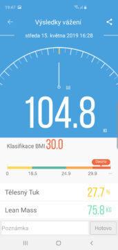 Ihealth Core aplikace váha detail