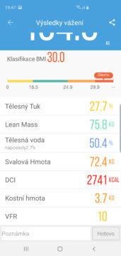 Ihealth Core aplikace výsledky vážení