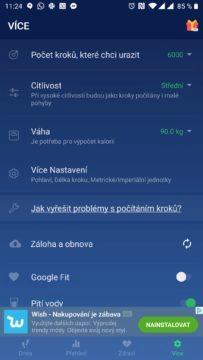 Nastavení aplikace Krokoměr