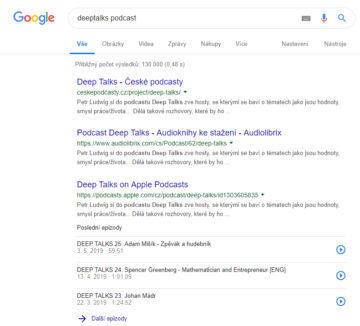 podcasty google vyhledavani