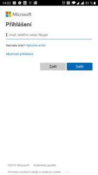 Přihlášení účtem Microsoft