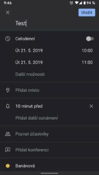 Tmavý režim Google Kalendář nová událost
