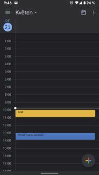 Tmavý režim Google Kalendář přehled událostí