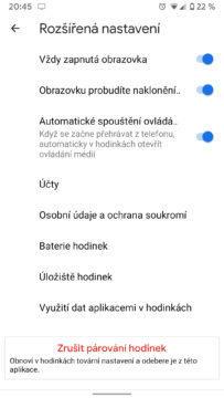 Wear OS aplikace nastavení