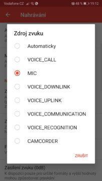 ACR - nahrávání hovorů - Zdroj zvuku