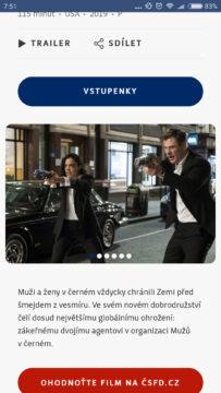 Aplikace Cinestar výběr filmu