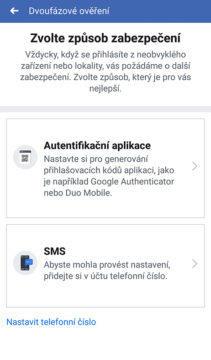 aplikace facebook dvoufázové ověření účtu