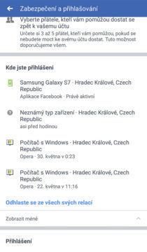 aplikace facebook seznam zařízení