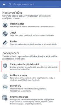 aplikace facebook zabezpečení