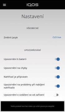 aplikace iqos náhled upozornění