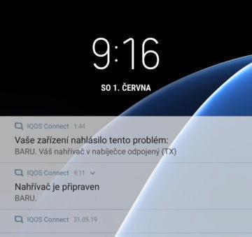 aplikace iqos notifikační lišta