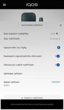 aplikace iqos nastavení upozornění