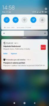 Aplikace je přístupná z notifikací