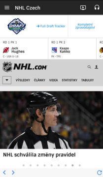 Aplikace NHL zpravodajství česky