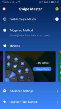 Aplikace pro ovládání jednou rukou - temný režim