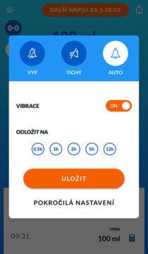Aplikace pro pitný režim upozornění