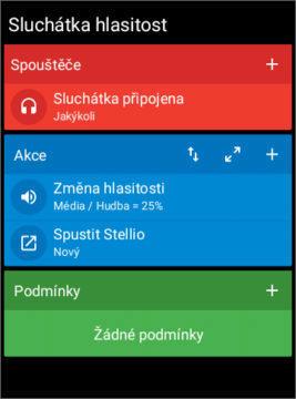 Automatizace Android telefonu - Akce po připojení sluchátek 01