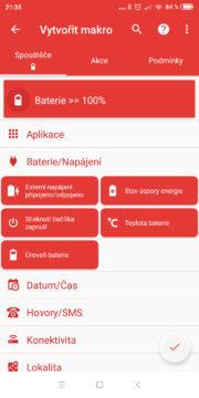 Automatizace Android telefonu - Přehrát zvuk po nabití 02