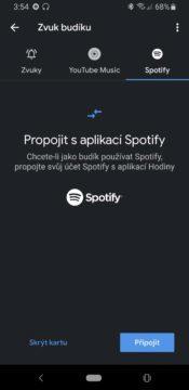 Hodiny Google propojení se Spotify
