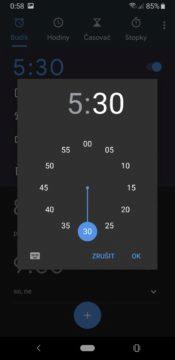 Hodiny Google nastavení času buzení